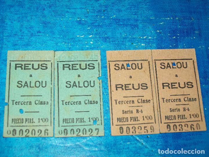 2 BILLETES CARRILET REUS A SALOU Y 2 BILLETES SALOU A REUS, CORRELATIVOS 12 AGO 45.. (Coleccionismo - Billetes de Transporte)