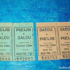 Coleccionismo Billetes de transporte: 2 BILLETES CARRILET REUS A SALOU Y 2 BILLETES SALOU A REUS, CORRELATIVOS 12 AGO 45... Lote 194405482