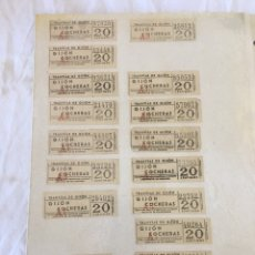 Coleccionismo Billetes de transporte: BILLETES DE TRANVÍAS DE GIJON COCHERAS 20 CÉNTIMOS. Lote 194488687