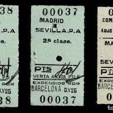 Coleccionismo Billetes de transporte: 0212 PAREJA DE BILLETES DE TREN 2ª CLASE CON NUMERACION SEGUIDA DE MADRID - SEVILLA. P.A. -MAS UNO. Lote 194492307