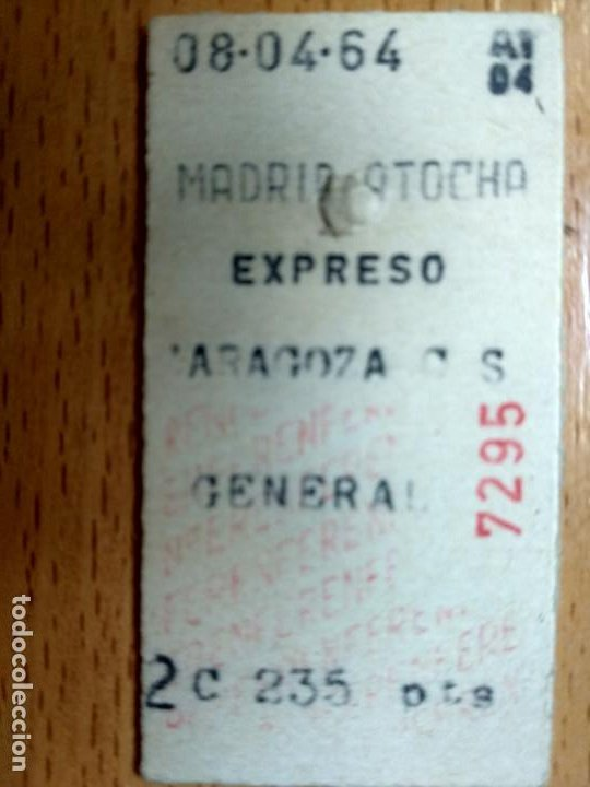 BILLETE DE TREN MADRID ATOCHA-ZARAGOZA 1964-EXPRESO (Coleccionismo - Billetes de Transporte)