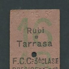 Coleccionismo Billetes de transporte: ANTIGUO BILLETE TICKET TREN RUBI - TERRASSA AÑO 1951. Lote 194628171