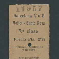 Coleccionismo Billetes de transporte: ANTIGUO BILLETE TICKET TREN BARCELONA - MOLLET SANTA ROSA AÑO 1947. Lote 194633847