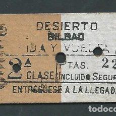Coleccionismo Billetes de transporte: ANTIGUO BILLETE TICKET TREN DESIERTO BILBAO AÑO 1949. Lote 194634127