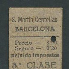 Coleccionismo Billetes de transporte: ANTIGUO BILLETE TICKET TREN SANT MARTI DE CENTELLES - BARCELONA AÑO 1938. Lote 194634928