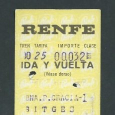 Coleccionismo Billetes de transporte: ANTIGUO BILLETE TICKET TREN BARCELONA PASEO DE GRACIA - SITGES AÑO 1971. Lote 194729433