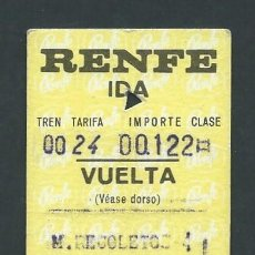 Coleccionismo Billetes de transporte: ANTIGUO BILLETE TICKET TREN RECOLETOS - SEGOVIA AÑO 1974 RENFE. Lote 194729533