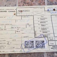 Coleccionismo Billetes de transporte: BILLETE DE LA COMPAÑIA INTERNACIONAL DE COCHES CAMAS AÑOS 60, 70. Lote 194738151