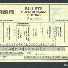 Coleccionismo Billetes de transporte: ANTIGUO BILLETE TICKET TREN PEÑAFIEL - BARCELONA AÑO 1979 RENFE . Lote 194750783
