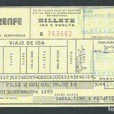 Coleccionismo Billetes de transporte: ANTIGUO BILLETE TICKET TREN BARCELONA - PEÑAFIEL AÑO 1979 RENFE . Lote 194750827