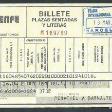 Coleccionismo Billetes de transporte: ANTIGUO BILLETE TICKET TREN PEÑAFIEL - BARCELONA AÑO 1979 RENFE . Lote 194751671