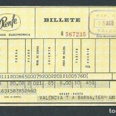 Coleccionismo Billetes de transporte: ANTIGUO BILLETE TICKET TREN VALENCIA - BARCELONA AÑO 1970 RENFE . Lote 194752146