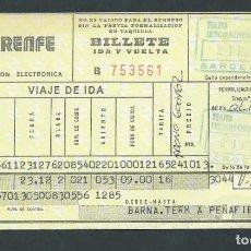 Coleccionismo Billetes de transporte: ANTIGUO BILLETE TICKET TREN BARCELONA - PEÑAFIEL AÑO 1979 RENFE . Lote 194752213