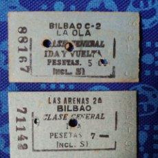 Coleccionismo Billetes de transporte: DOS BILLETES DE TREN BILBAO LA OLA Y LAS ARENAS BILBAO AÑOS 70. Lote 194757956