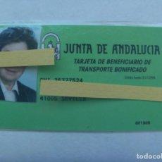 Coleccionismo Billetes de transporte: TRANSPORTE BONIFICADO: TARJETA DE BENEFICIARIO . JUNTA DE ANDALUCIA . SEVILLA,1994. Lote 194907998