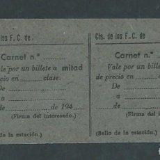 Coleccionismo Billetes de transporte: HOJA BILLETE TREN VALE POR LA MITAD DE PRECIO AÑOS 40 SIN ESCRIBIR!. Lote 194967052