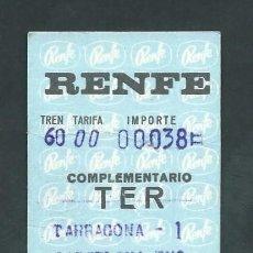 Coleccionismo Billetes de transporte: ANTIGUO BILLETE TICKET DE TREN TARRAGONA - BARCELONA AÑO 1971. Lote 194967221