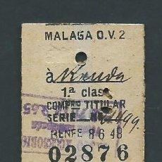 Coleccionismo Billetes de transporte: ANTIGUO BILLETE TICKET DE TREN MALAGA A RONDA AÑO 1952. Lote 194967583