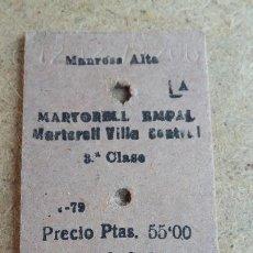 Coleccionismo Billetes de transporte: BILLETE EDMONSON - FERROCARRILS CATALANS DE LA GENERALITAT DE CATALUNYA - MARTORELL - CAPICUA 32623. Lote 194969287