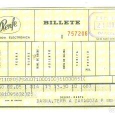 Coleccionismo Billetes de transporte: RENFE ANTIGUO BILLETE FERROCARRIL BARCELONA ZARAGOZA TALGO 1973. Lote 195007375