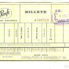 Coleccionismo Billetes de transporte: RENFE ANTIGUO BILLETE FERROCARRIL BARCELONA ZARAGOZA TALGO 1973. Lote 195007527