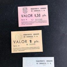 Coleccionismo Billetes de transporte: TRANSPORTES URBANOS ZARAGOZA / VALES ( VALOR 0,5 - 1 - 1,5 PTS ) SERIE COMPLETA / MUY RARA. Lote 195030670