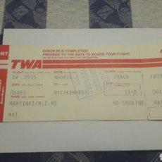 Coleccionismo Billetes de transporte: BILLETE DE A VIACION TWA-MADRID-NUEVA YORK-KENNEDY. Lote 195038950