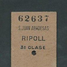 Coleccionismo Billetes de transporte: ANTIGUO BILLETE TICKET DE SANT JOAN DE LES ABADESSES A RIPOLL AÑO 1954. Lote 195148937