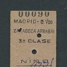 Coleccionismo Billetes de transporte: ANTIGUO BILLETE TICKET DE MADRID A ZARAGOZA AÑO 1957. Lote 195149075