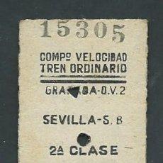 Coleccionismo Billetes de transporte: ANTIGUO BILLETE TICKET DE GRANADA A SEVILLA AÑO 1952. Lote 195149520