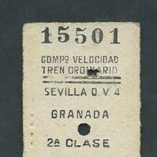 Coleccionismo Billetes de transporte: ANTIGUO BILLETE TICKET DE SEVILLA A GRANADA AÑO 1952. Lote 195149558