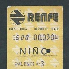 Coleccionismo Billetes de transporte: ANTIGUO BILLETE TICKET DE PALENCIA A VALLADOLID AÑO 1975 NIÑO. Lote 195149917
