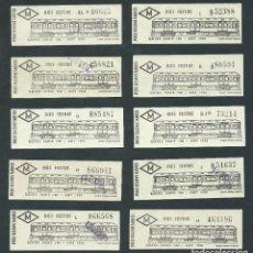 Coleccionismo Billetes de transporte: LOTE BILLETE TICKET DE TREN METRO BARCELONA AÑOS 80 SERIE 100 AÑO 1926 FESTIVOS LOTE 10 BILLETES. Lote 195150126
