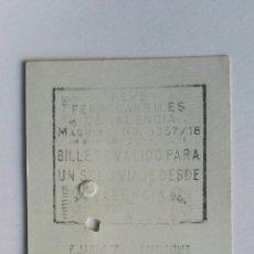 Coleccionismo Billetes de transporte: BILLETE DE TREN FEVE FERROCARRILES VALENCIA 1973. Lote 195177225