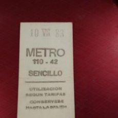 Coleccionismo Billetes de transporte: BILLETE METRO MADRID SENCILLO 1983 CAPICÚA . Lote 195185756