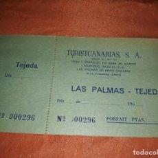 Coleccionismo Billetes de transporte: ANTIGUO BILLETE TRANSPORTE DE GUAGUA AUTOBÚS TURISTCANARIAS AÑOS 60. Lote 195211743