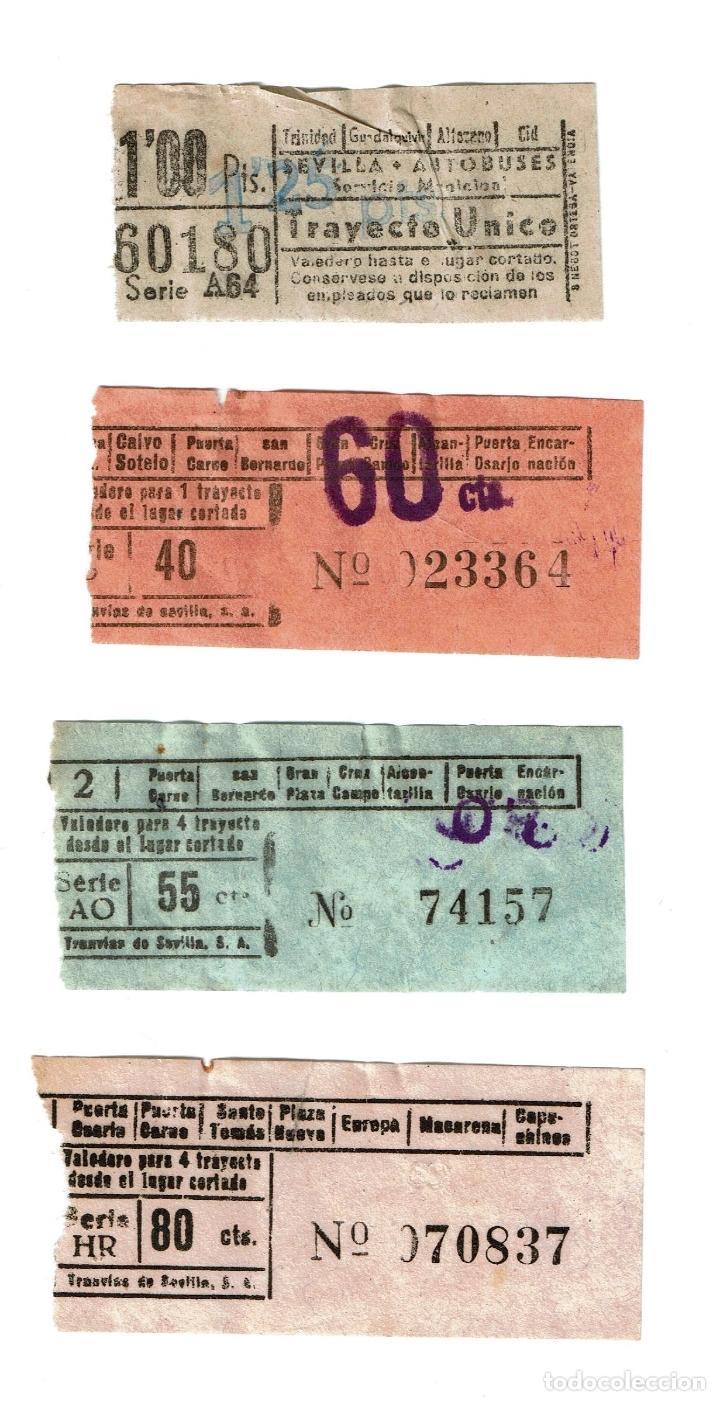 LOTE 3 BILLETES TRANVIA TRAMOS DIFERENTES Y 1 BILLETE AUTOBUSES SEVILLA 1957 (Coleccionismo - Billetes de Transporte)