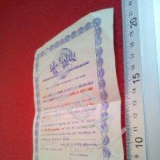 Coleccionismo Billetes de transporte: TUBAL BILLETE TREN SEGUROS LA MUNDIAL CONTRA ACCIDENTE FERROCARRIL B43. Lote 195327686