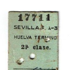 Coleccionismo Billetes de transporte: BILLETE TREN SEVILLA -HUELVA TERMINO - 2ª CLASE 39,55 PESETAS AÑO 1957 3 DE MAYO - . Lote 195327735
