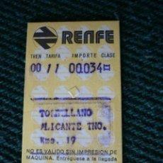 Coleccionismo Billetes de transporte: BILLETE TREN RENFE IDA TORRELLANO-ALICANTE 1992. Lote 195354931
