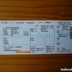 Coleccionismo Billetes de transporte: BILLETE TREN RENFE -XÀTIVA - ORIHUELA - 7 AGOSTO 2017. Lote 195395012