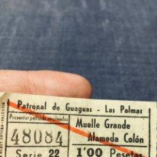 Coleccionismo Billetes de transporte: BILLETE AUTOBUSES GUAGUAS LAS PALMAS GRAN CANARIA CANARIAS MUELLE GRANDE ALAMEDA COLON. Lote 195456290