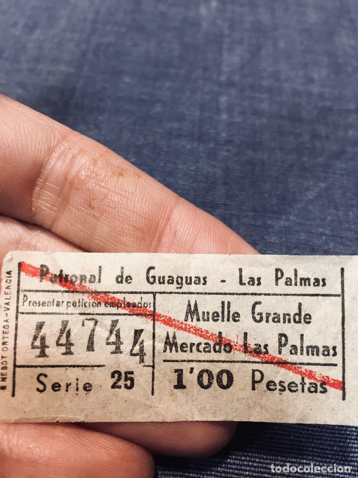BILLETE AUTOBUSES GUAGUAS LAS PALMAS GRAN CANARIA CANARIAS MUELLE GRANDE MERCADO (Coleccionismo - Billetes de Transporte)