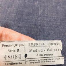 Coleccionismo Billetes de transporte: BILLETE AUTOBUSES CUERVO MADRID VALLECAS ORDINARIO . Lote 195456576
