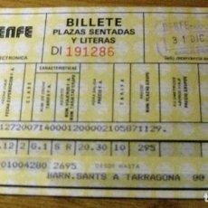 Coleccionismo Billetes de transporte: BILLETE DE RENFE BARCELONA SANTS A TARRAGONA 1985. Lote 195474051