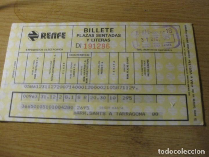 Coleccionismo Billetes de transporte: billete de renfe barcelona sants a tarragona 1985 - Foto 2 - 195474051