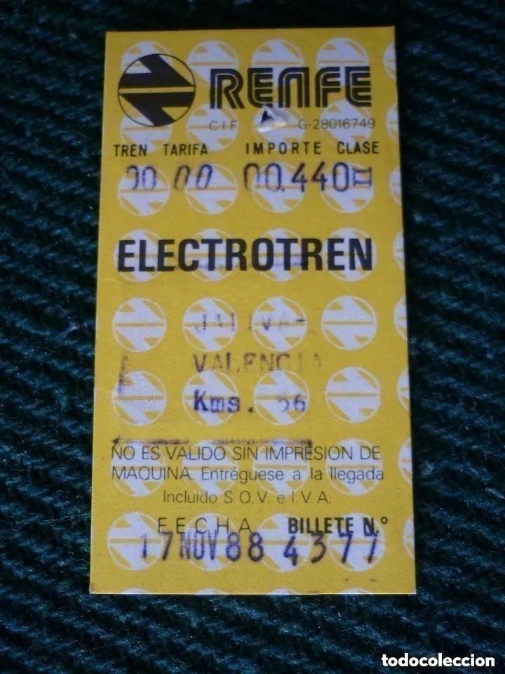 BILLETE TREN RENFE ELECTROTREN IDA JÁTIVA-VALENCIA 1988 (Coleccionismo - Billetes de Transporte)