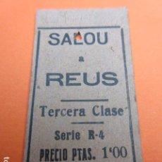 Coleccionismo Billetes de transporte: BILLETE EDMONSON SALOU REUS 1945. Lote 195752880