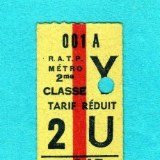Coleccionismo Billetes de transporte: BONITO BILLETE DEL METRO DE PARIS DE TARIFA REDUCIDA AÑOS 1960/70 . Lote 196655033