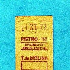 Coleccionismo Billetes de transporte: ANTIGUO BILLETE DEL METRO DE MADRID DE 1972 ESTACION TIRSO DE MOLINA. Lote 196655883